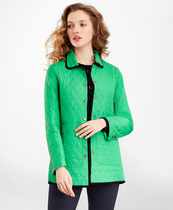 Water-Repellent Quilted Car Coat Green