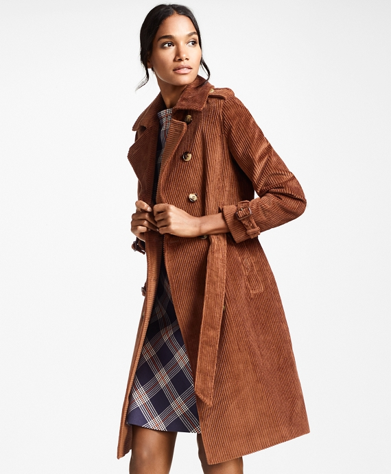 Water-Repellent Cotton Corduroy Trench Coat Cognac