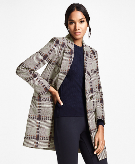 Wool-Silk Glen Plaid Coat