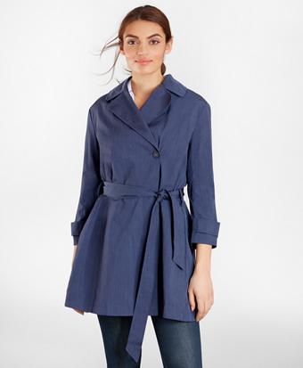 Three-Quarter-Sleeve Trench Coat
