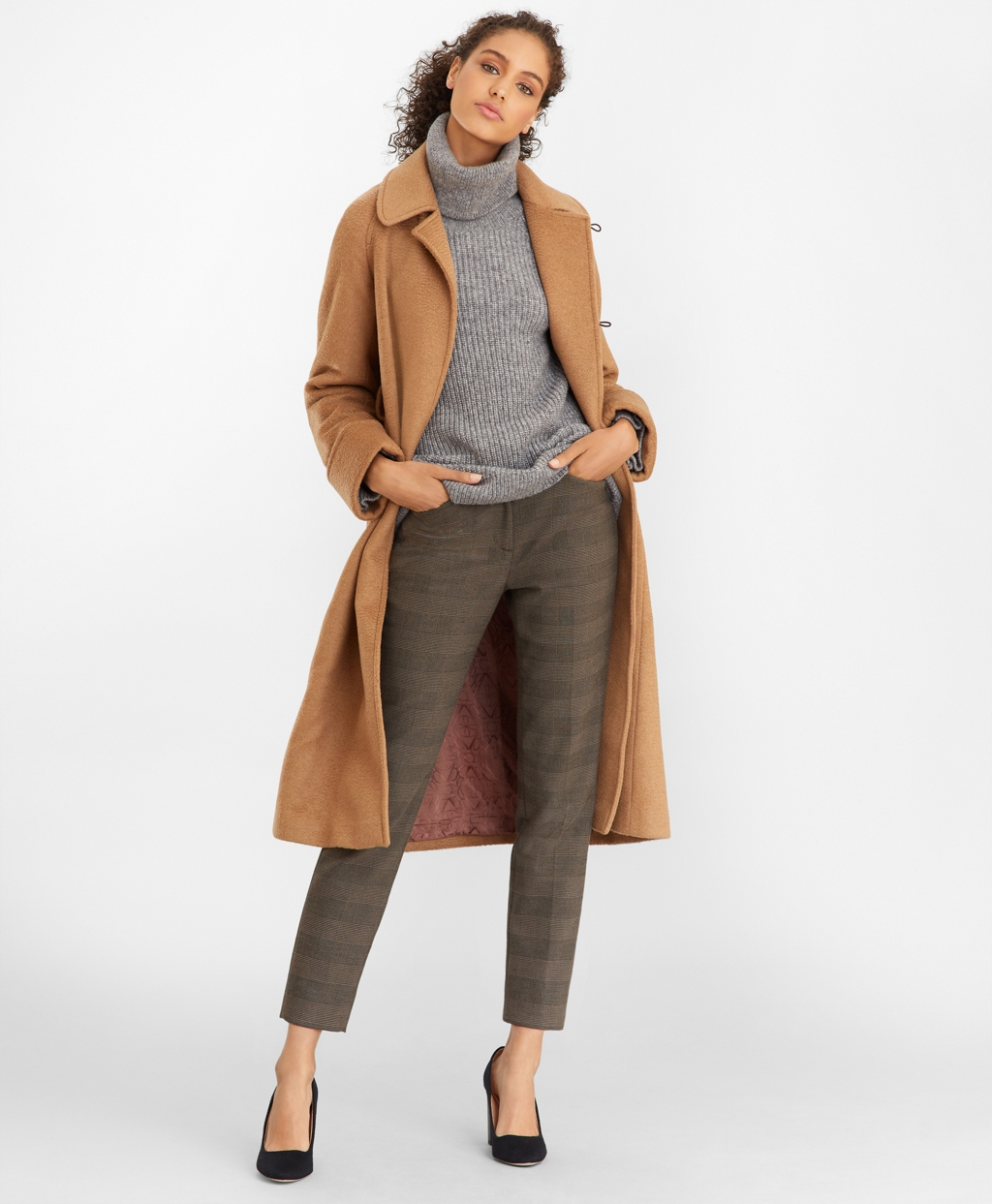 1930s Style Clothing and Fashion Brooks Brothers Womens Camel Hair Wrap Coat $908.60 AT vintagedancer.com