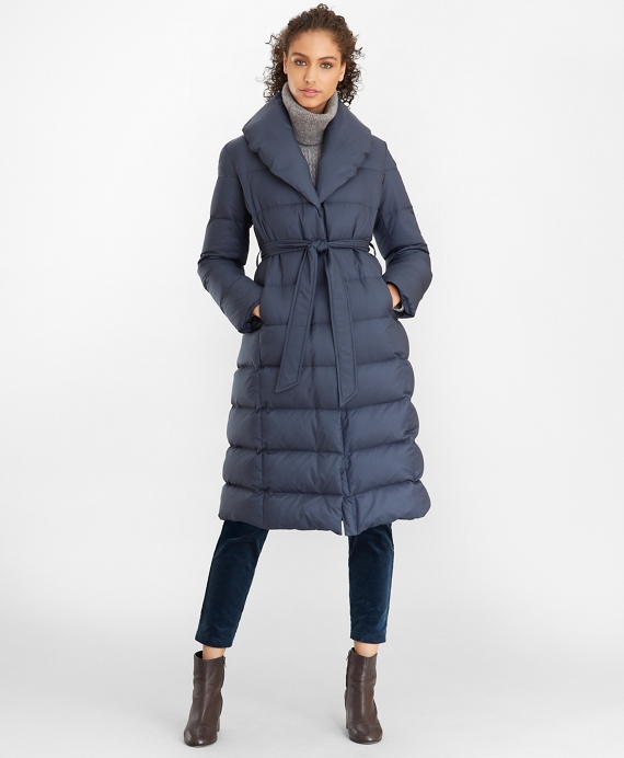 Shawl-Collar Down-Fill Puffer Coat Slate Blue