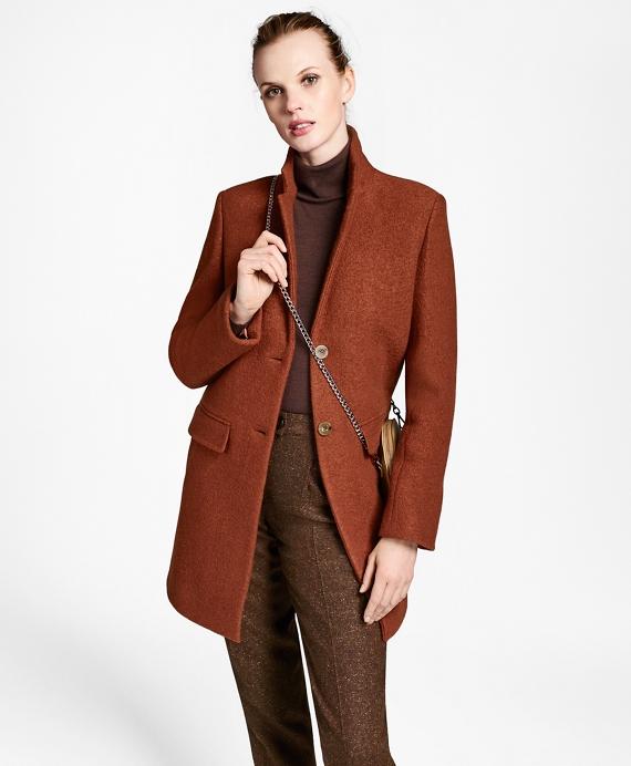 Wool Boucle Melton Cocoon Coat Rust