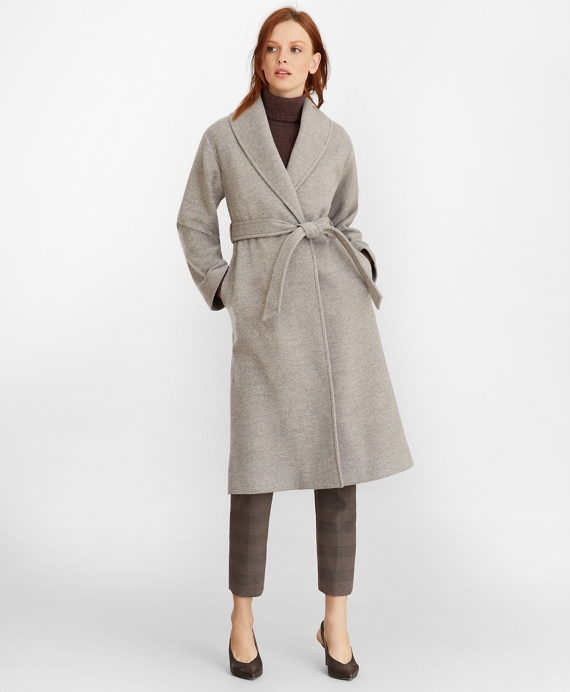 Wool Wrap Coat Camel-Grey
