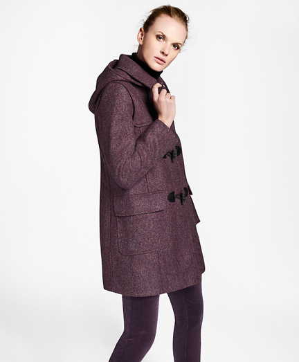 Herringbone Wool Tweed Duffle Coat