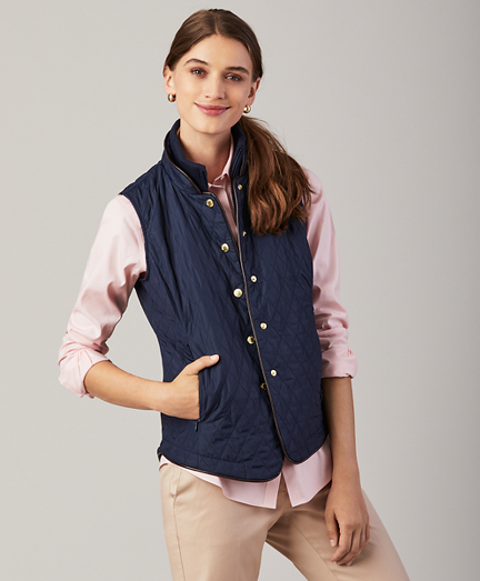 Water-Repellent Diamond-Quilted Vest