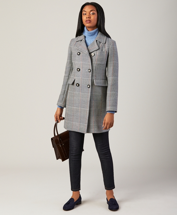 Plaid Double-Breasted Coat Navy