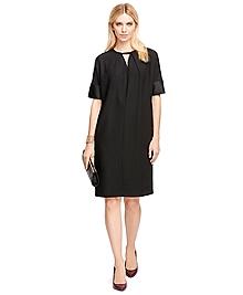 Short-Sleeve Crepe Satin Dress