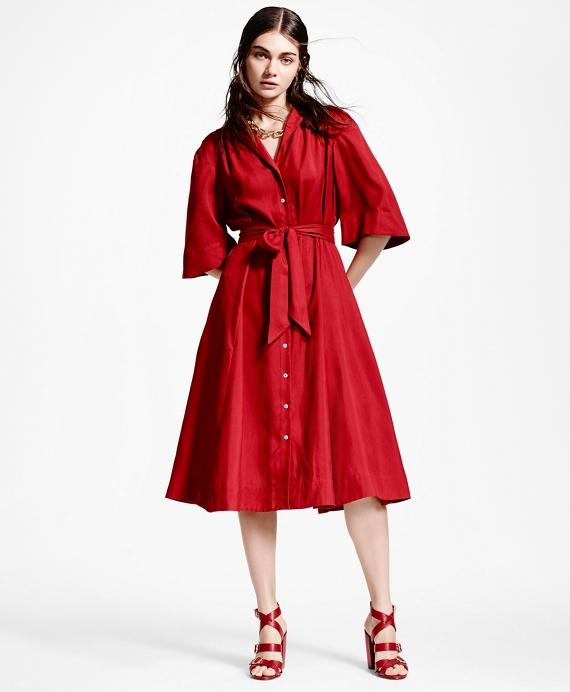 Silk Shirt Dress Red