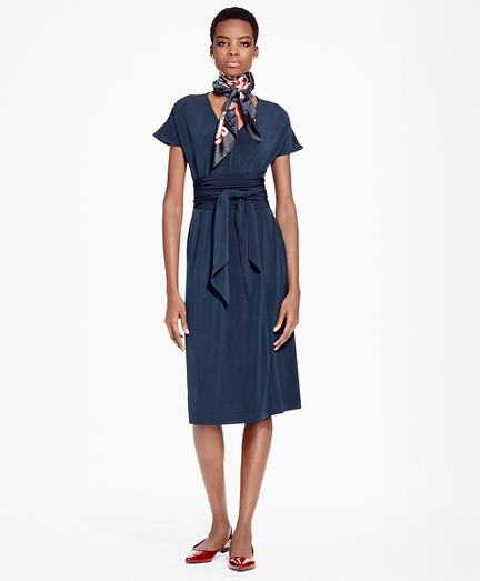 Faux Wrap Fit-and-Flare Dress