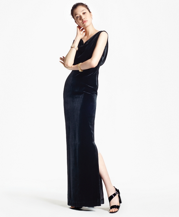 Sleeveless Silk-Blend and Velvet Evening Gown Black