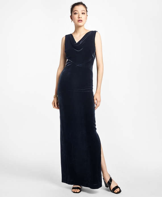 1930s Evening Dresses | Old Hollywood Dress Brooks Brothers Womens Sleeveless Silk-Blend And Velvet Evening Gown $498.00 AT vintagedancer.com
