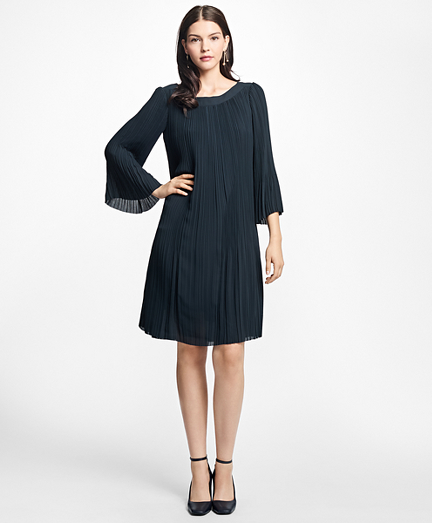 Pleated Boatneck Dress