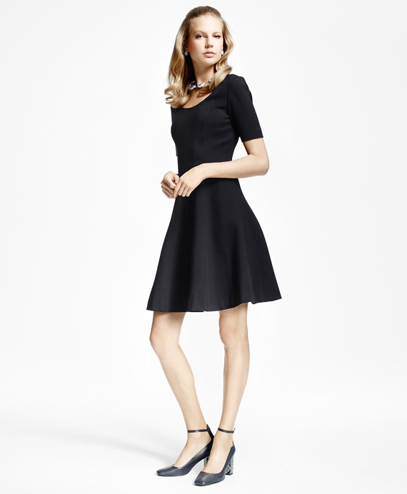 Ponte knit fit and flare dress brooks brothers black publicscrutiny Images