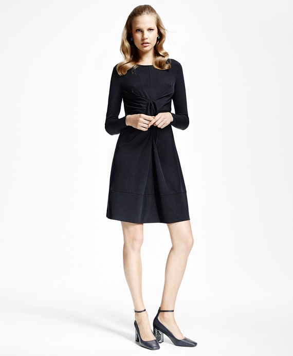 Jersey-Knit Front-Tucked Dress Black