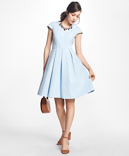 Pleated Stretch-Cotton V-Neck Dress