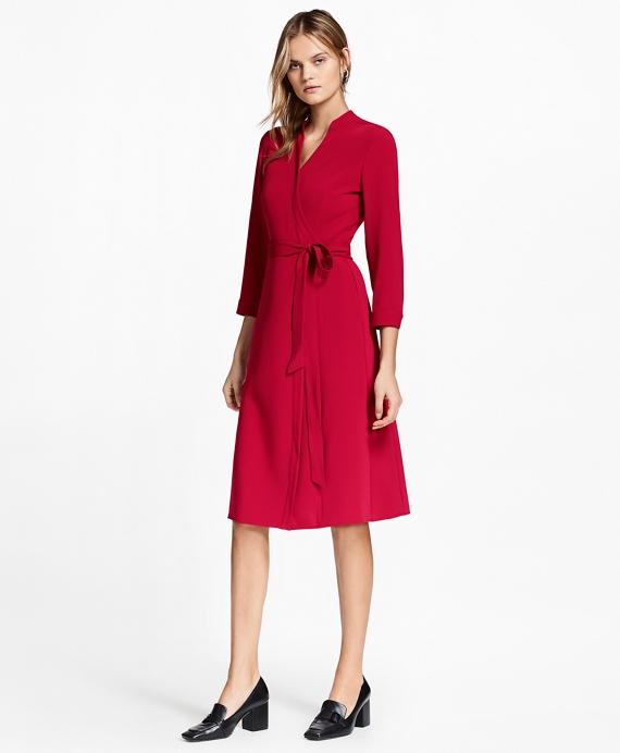 Matte Satin Wrap Dress Red