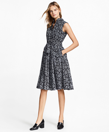 Floral-Print Glen Plaid Dress