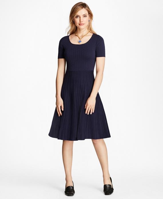 Jacquard Knit Dress Navy