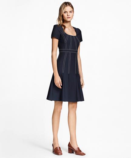 Pleated Wool Crepe Dress