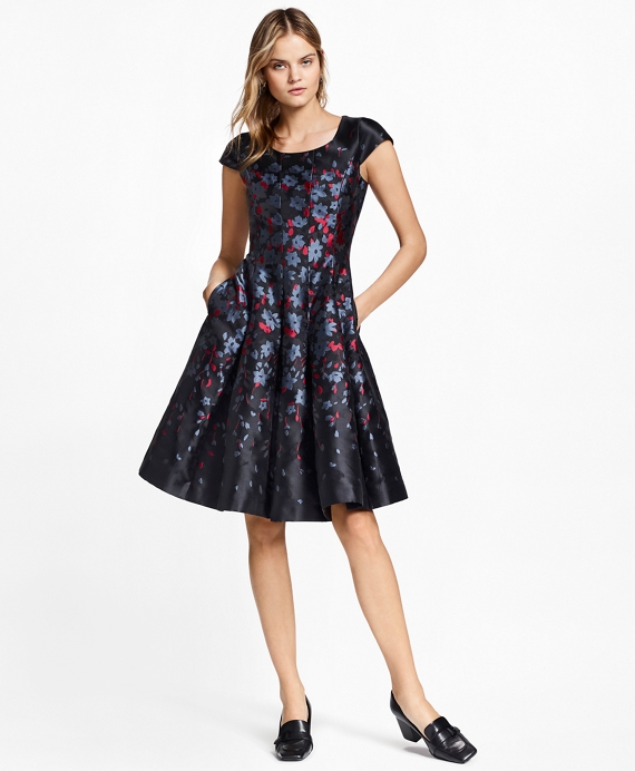 Floral Jacquard Dress Black-Multi