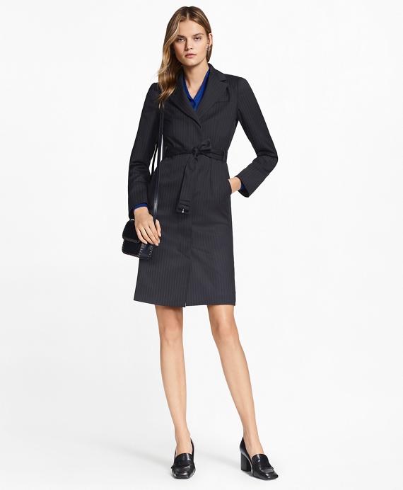 Pinstripe Stretch-Wool Jacket Dress Navy