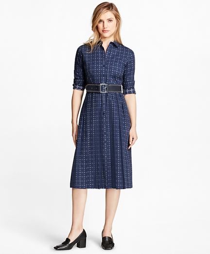 Dobby Checked Oxford Shirtdress