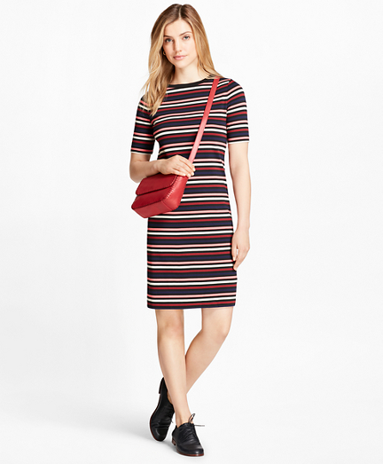 Striped Cotton Interlock Jersey T-Shirt Dress