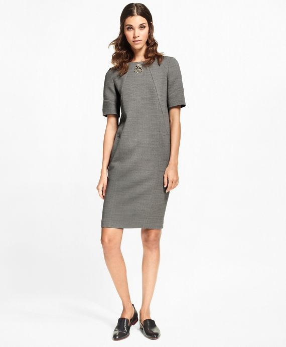 Double-Weave Stretch-Wool Shift Dress Grey