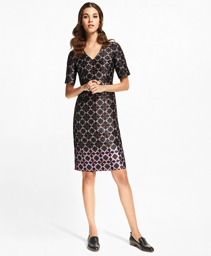 Geometric Jacquard Sheath Dress