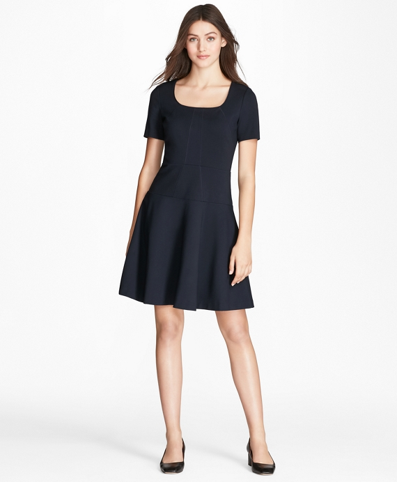 Flared Ponte Dress Navy