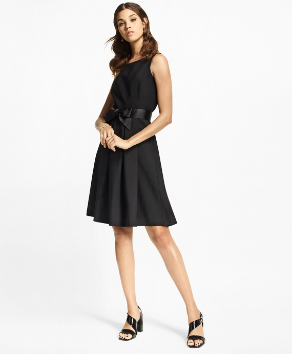 Stretch-Wool Crepe Flared Tuxedo Dress Black