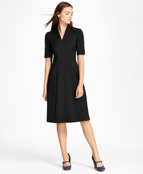 Double-Weave Stretch Wool Stand Collar Dress Black