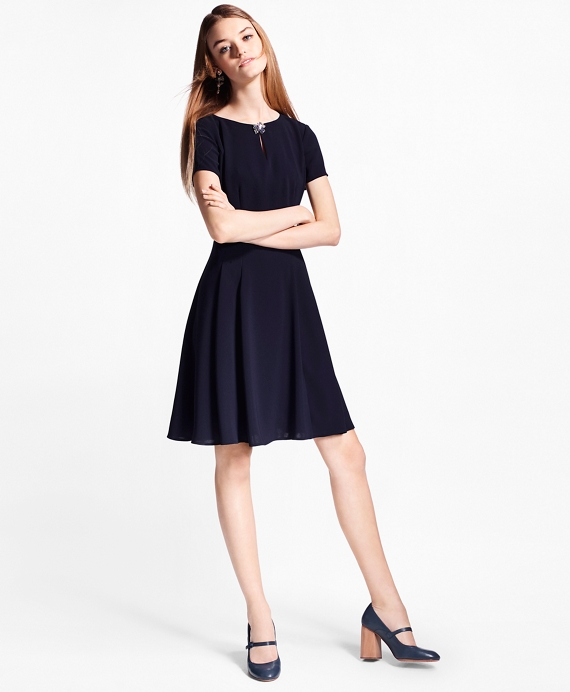 Crepe A-Line Dress Navy