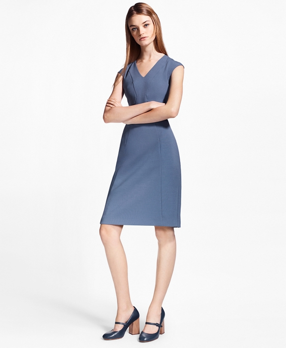 Crepe Satin Sheath Dress Blue