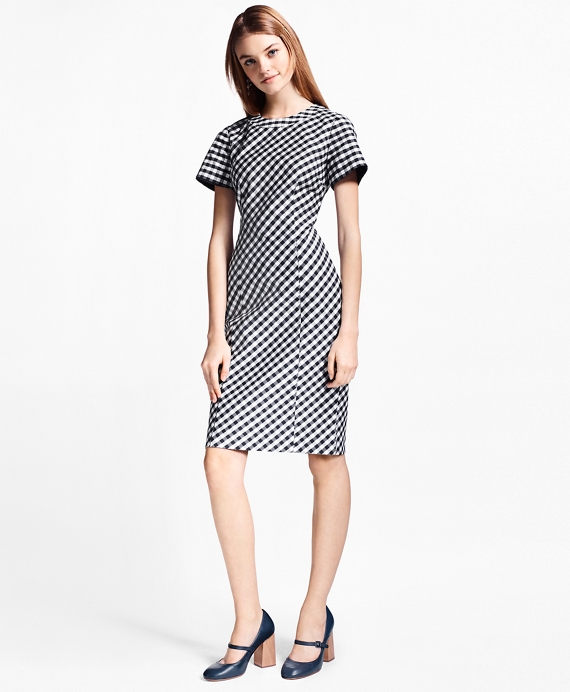 Gingham Double-Weave Sheath Dress Navy