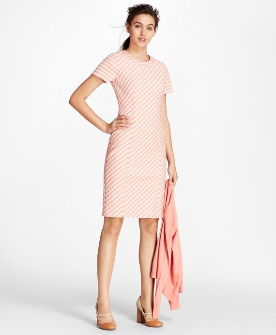 Gingham Double-Weave Sheath Dress Pink