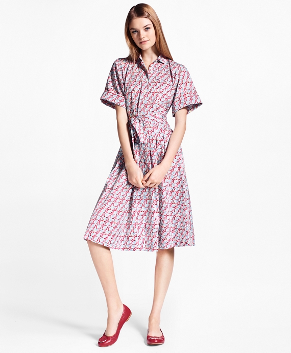 eef7346f154e14 Hula-Dancer-Print Cotton Sateen Shirt Dress - Brooks Brothers