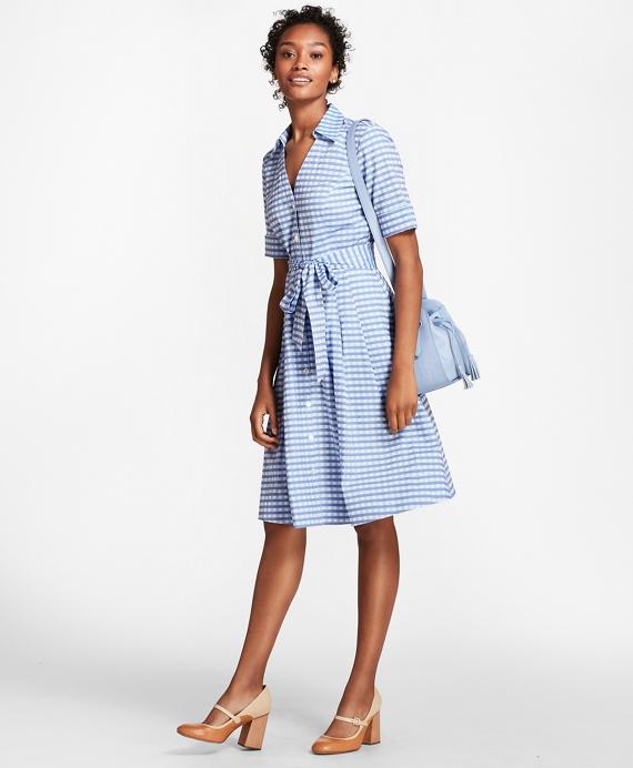 Gingham Cotton Shirt Dress Blue
