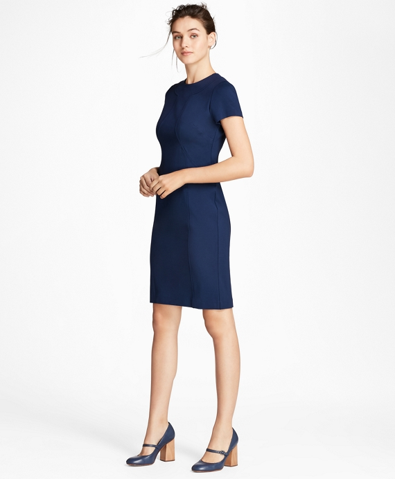 Ponte Knit Sheath Dress Navy