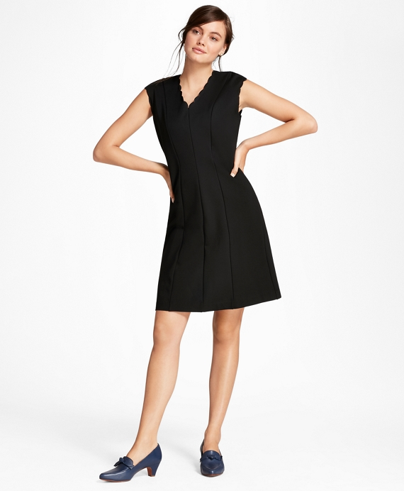 Scalloped Ponte Knit A-Line Dress Black