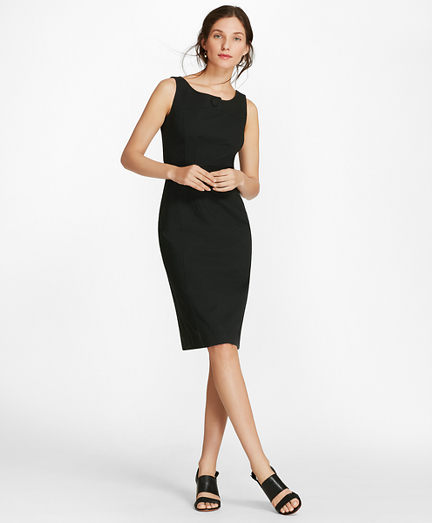 Stretch Cotton Pique Sheath Dress