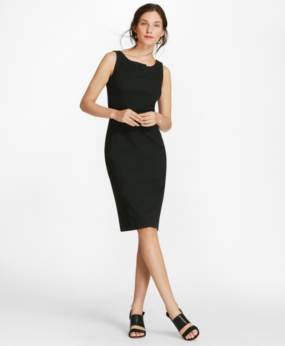 Stretch Cotton Pique Sheath Dress Black