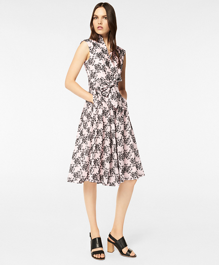 Floral-Embroidered Striped Cotton-Silk Jacquard Dress