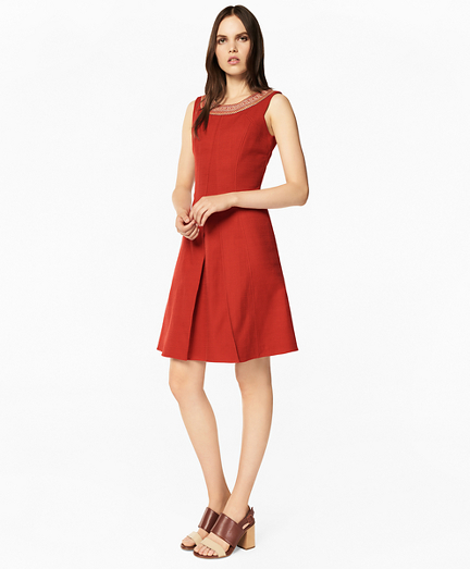 Embroidered Stretch-Cotton Jacquard Dress