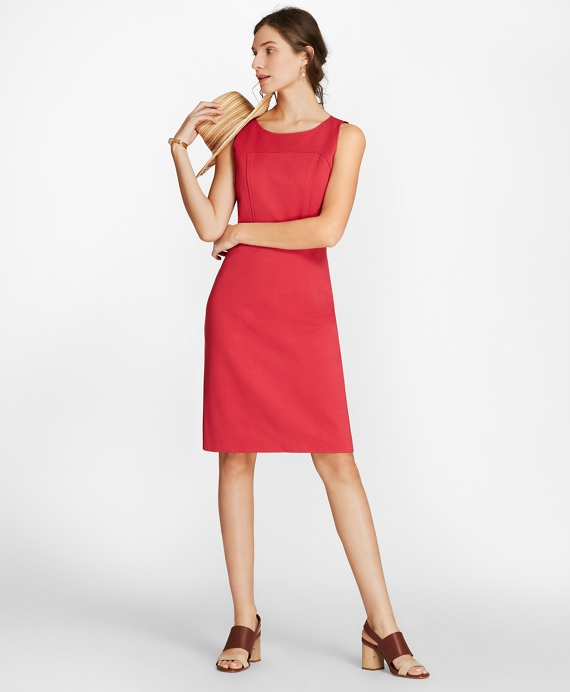 Ponte Knit Sleeveless Sheath Dress Pink