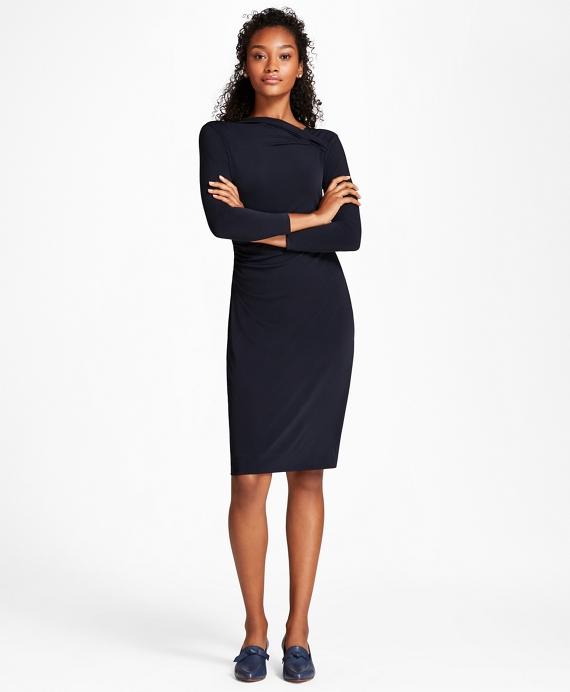 Asymmetrical-Neck Jersey Sheath Dress Navy