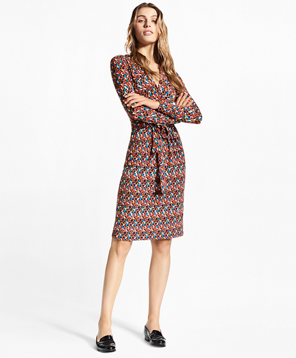 """B"" Print Jersey Faux Wrap Dress"