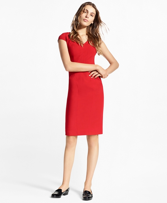 Stretch-Wool Twill Sheath Dress Red