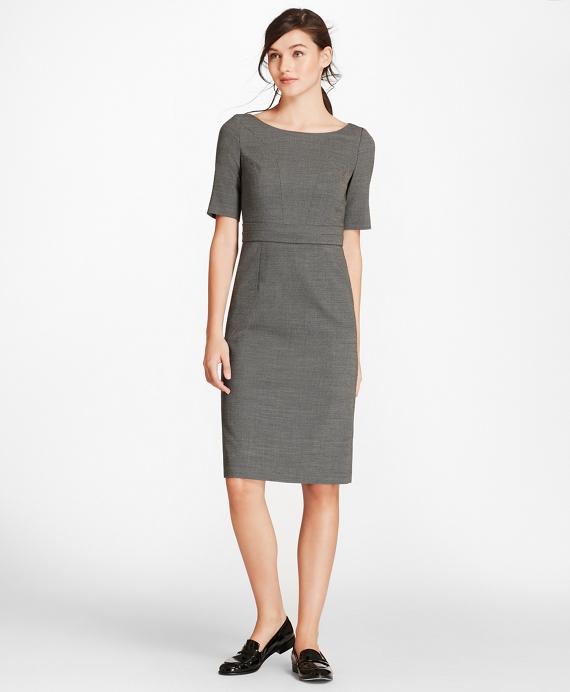 b6e5017e52 Bird's-Eye Stretch-Wool Sheath Dress | Brooks Brothers